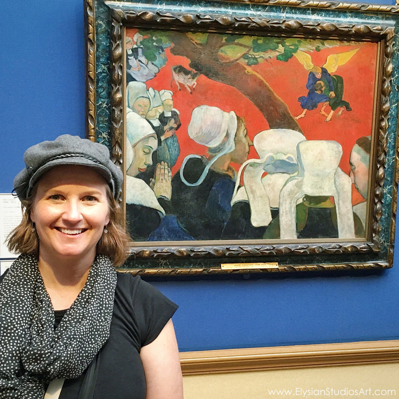 "Erin in front of ""Vision After the Sermon"" by Paul Gauguin, National Gallery of Scotland, Edinburgh"