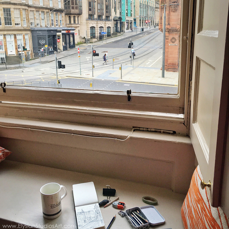 Drawing view from apartment window, Edinburgh, Scotland