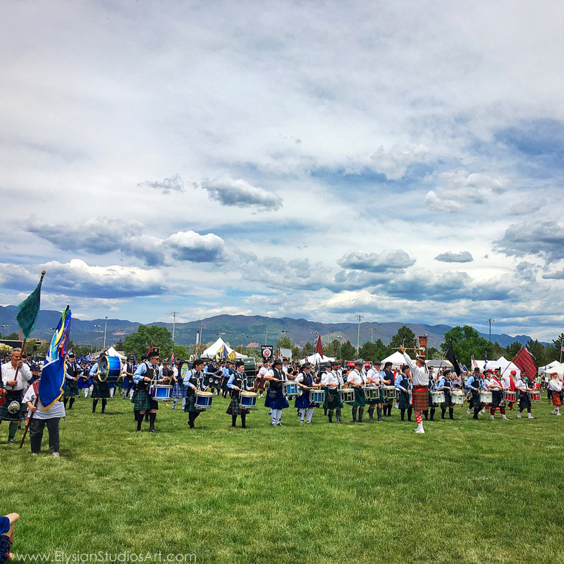 Denver and District Pipe Band performing at Massed Bands Ceremony, Pikes Peak Celtic Fest, Estes Park, Colorado