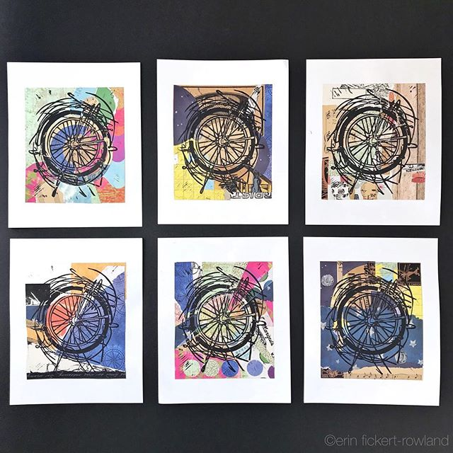 "A bicycle wheel in motion set against a background of colorful papers hand cut and collaged. Every piece is a reflection of its own journey to creation, with papers collected during our travels and arranged for each composition. ""Where To Next?"" Hand Pulled Linoleum Print on Collage, Limited Edition of 6 By @erin_fickertrowland • • • • • #bicyclewheel #wheelart #bikelove #handmadecollage #marchmeetthemaker #limitededitionprint #instabike #bikeart #inkandpaper #visualcrush #travelart #makersgonnamake #colourlovers #artsanity #creatorsofart #artspotters #handsandhustle #loveyourwork #artweinspire #artislife #denverartist #coloradoartist  #makersmovement #creatorslane #coloradical #bikestagram #paperlicious #creativebiz #colorventures #ErinFickertRowland #ElysianStudios"