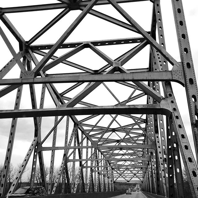 Driving through a continuous Warren Truss over the Missouri River  Rocheport Bridge Columbia, Missouri • • • • • #rocheportbridge #columbiamissouri #crossingthebridge #missouririver #columbiamo #familyroadtrip #familyadventures #roadtrippin #roadtrippers #travelgram #traveldiaries #architectureporn #architecturelovers #photosinbetween #mytinyatlas #visualsoflife #visualcrush #travelmore #neverstopexploring #lookingup #rsroadtrip  #abmtravelbug #bridgeview #architecture_hunter #livethelifeyoulove #bridgephotography #bridgesofinstagram #wanderluster #exploreinbetween #ElysianStudios