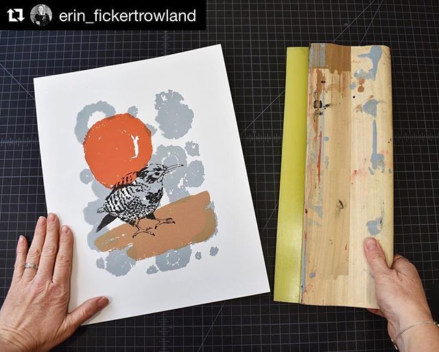 "Erin has been busy in the studio creating new art! ""Northern Flicker"" Acrylic on Paper Screen Print  Signed, Titled and Numbered Limited Edition of 15  To see behind the scenes of work in process, follow @erin_fickertrowland _____________________ #NorthernFlicker #birdart #screenprintingart #denverartist #coloradoartist #inspiredbynature #artsharing #natureart #wildlifeart #abmlifeiscolorful #popyacolor #printmakingartwork #solovelysofree #thatsdarling #artcollector #womanartist #liveartfully #inkandpaper #artspotters #artforthehome #printspotters #dsart #artfinder #makersgonnamake #oneofthebunch #artlovers #creatorsofart #creatorslane #inspiremyinstagram #ErinFickertRowland"