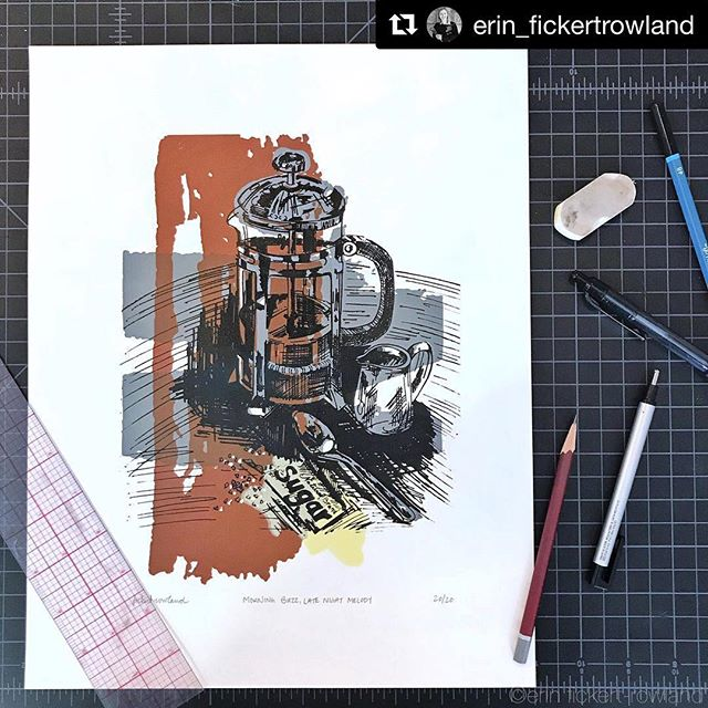 "Who needs a cup (or more) to push through to Friday? We do! Brewed in a French press, please! ""Morning Buzz, Late Night Melody"" Screen Print on Paper Signed, Titled and Numbered Limited Edition of 20 _____________________ #butfirstcoffee #screenprintingart #denverartist #coloradoartist #ilovecoffee #artsharing #coffeeisalwaysagoodidea #coffeeart #mybeautifulmess #frenchpresscoffee #printmakingartwork #nothingisordinary #thatsdarling #artcollector #makeyousmilestyle #liveartfully #inkandpaper #artspotters #artforthehome #printspotters #dsart #artfinder #makersgonnamake #oneofthebunch #artlovers #creatorsofart #creatorslane #inspiremyinstagram #ErinFickertRowland"