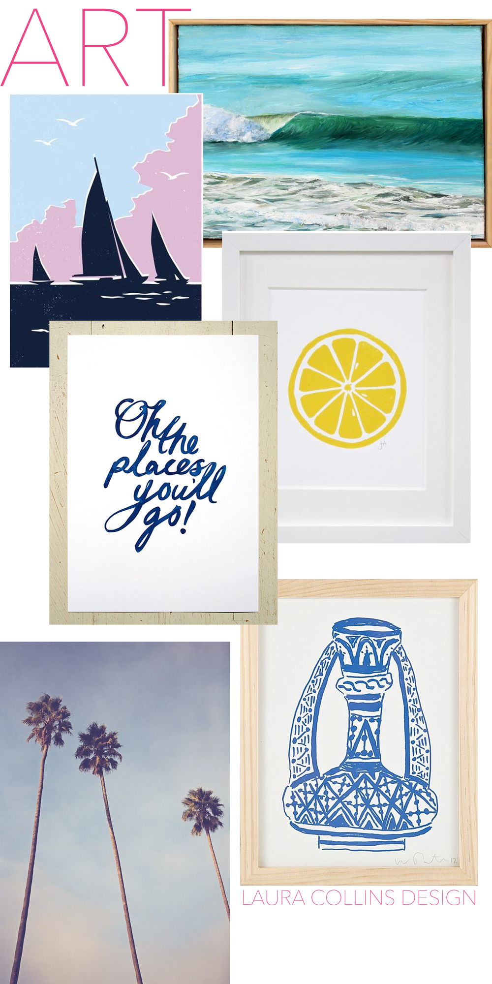 Yacht/Oh the Places You' ll Go/ Waves/ Lemon/Palm Trees/ Pottery