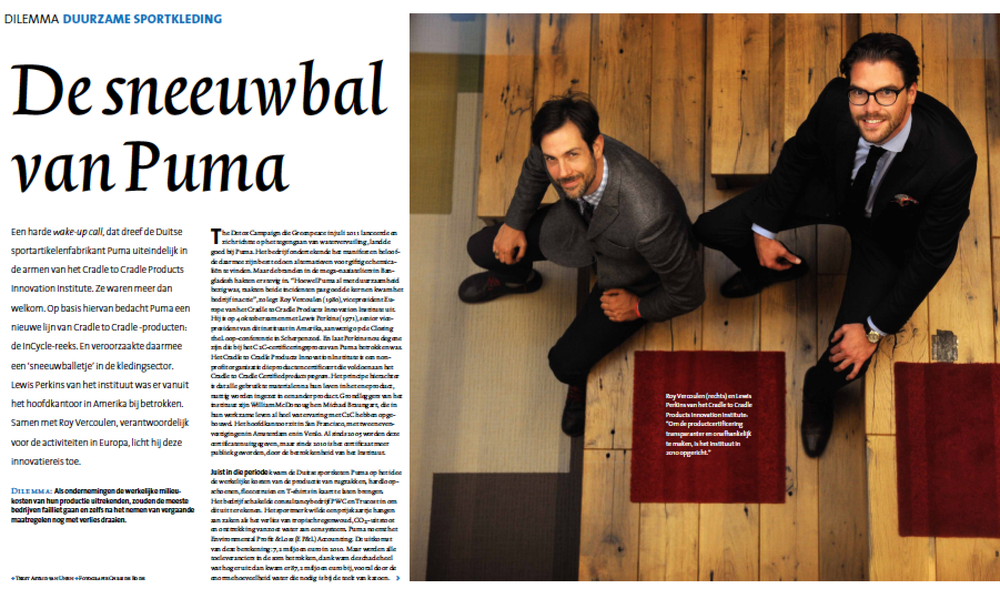 """Lewis Perkins and Roy Vercoulen featured in the article, """"Puma's Snowball Effect."""""""