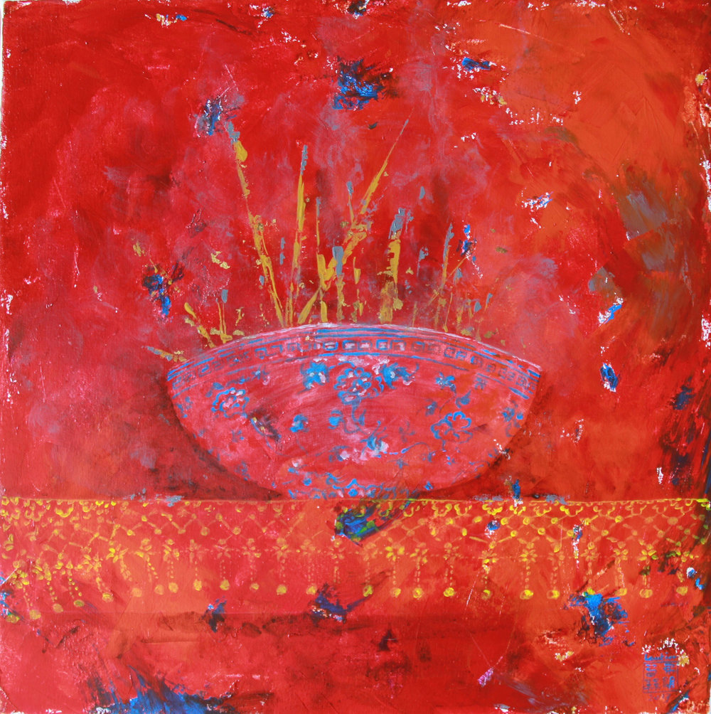 Chinese Red Incense Bowl