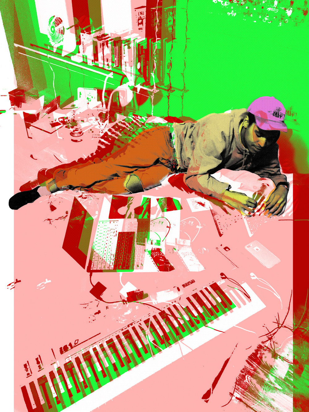 Chuck with Piano Red and Green