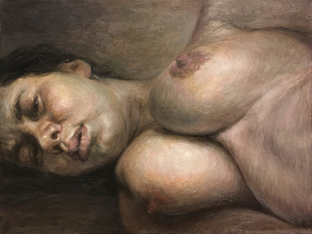 Woman laying on her side