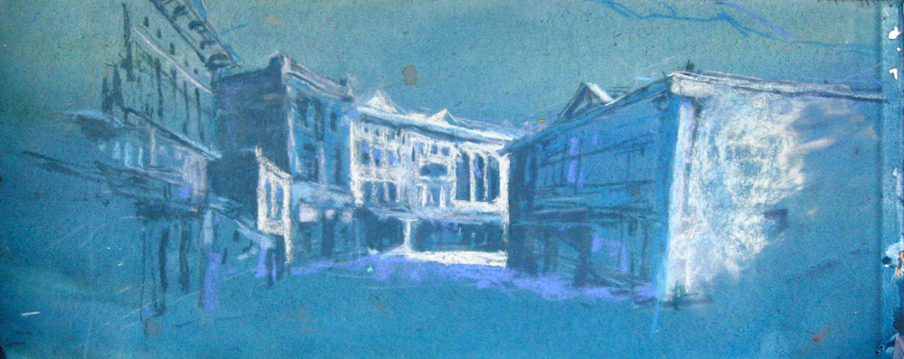 "SAM Worked in pastel over a blue wash on heavy paper with a deckle edge the gallery price is $325, offered this week only for $95. 15 x 6"" SOLD!"