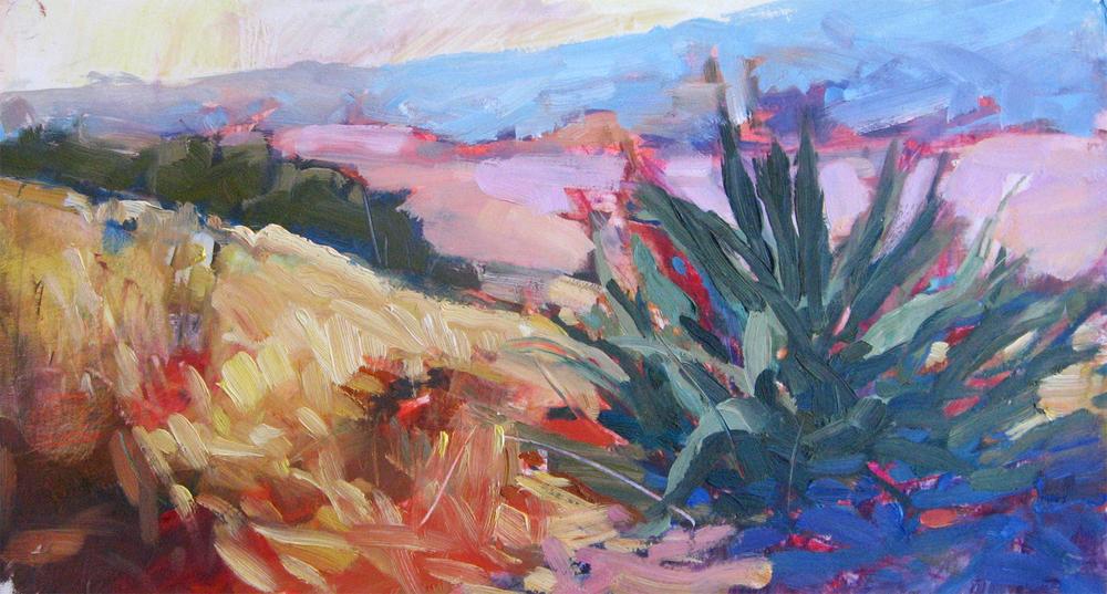 """SAM Easter in the Desert • oil on paper • 7 1/2 x 14"""" • $95"""