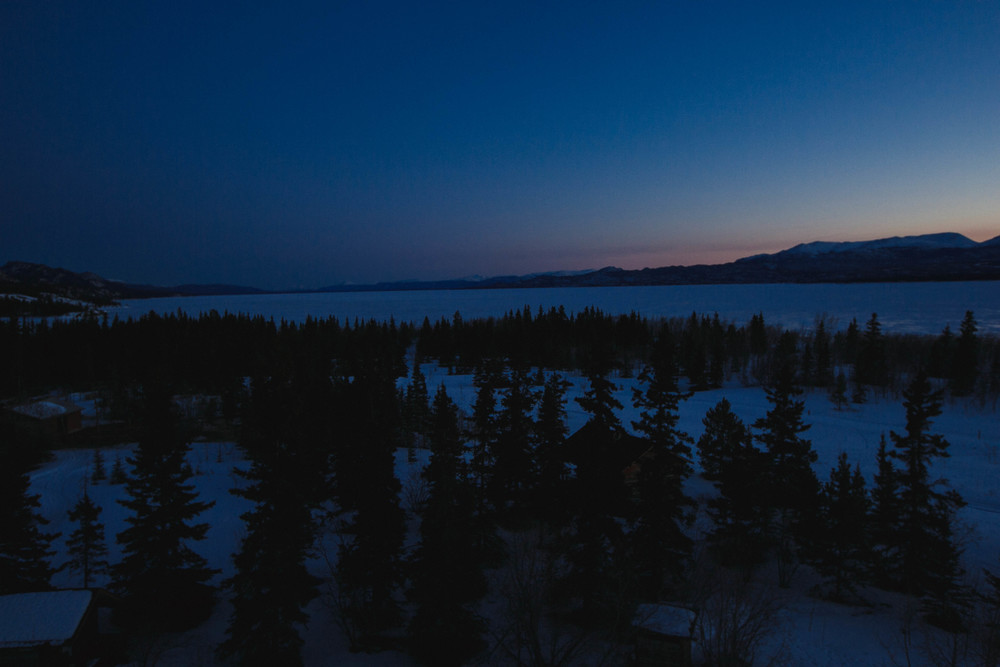 A typical, quiet and beautiful evening overlooking the frozen Lake Laberge.