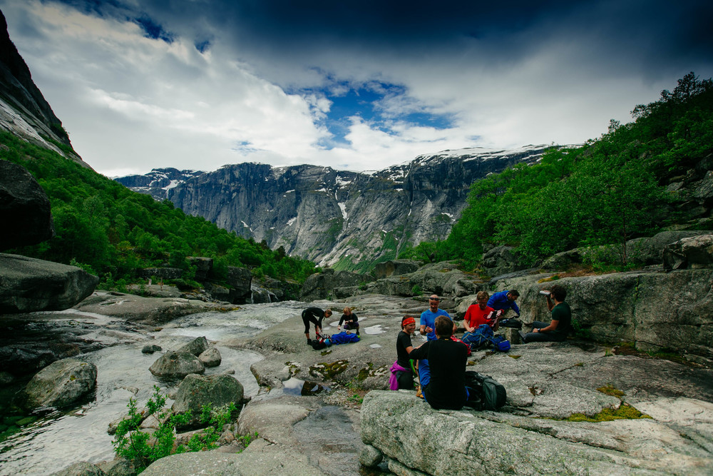 The crew that accompanied us to Trolltunga. Enjoying a mini snack break and taking in the scenery