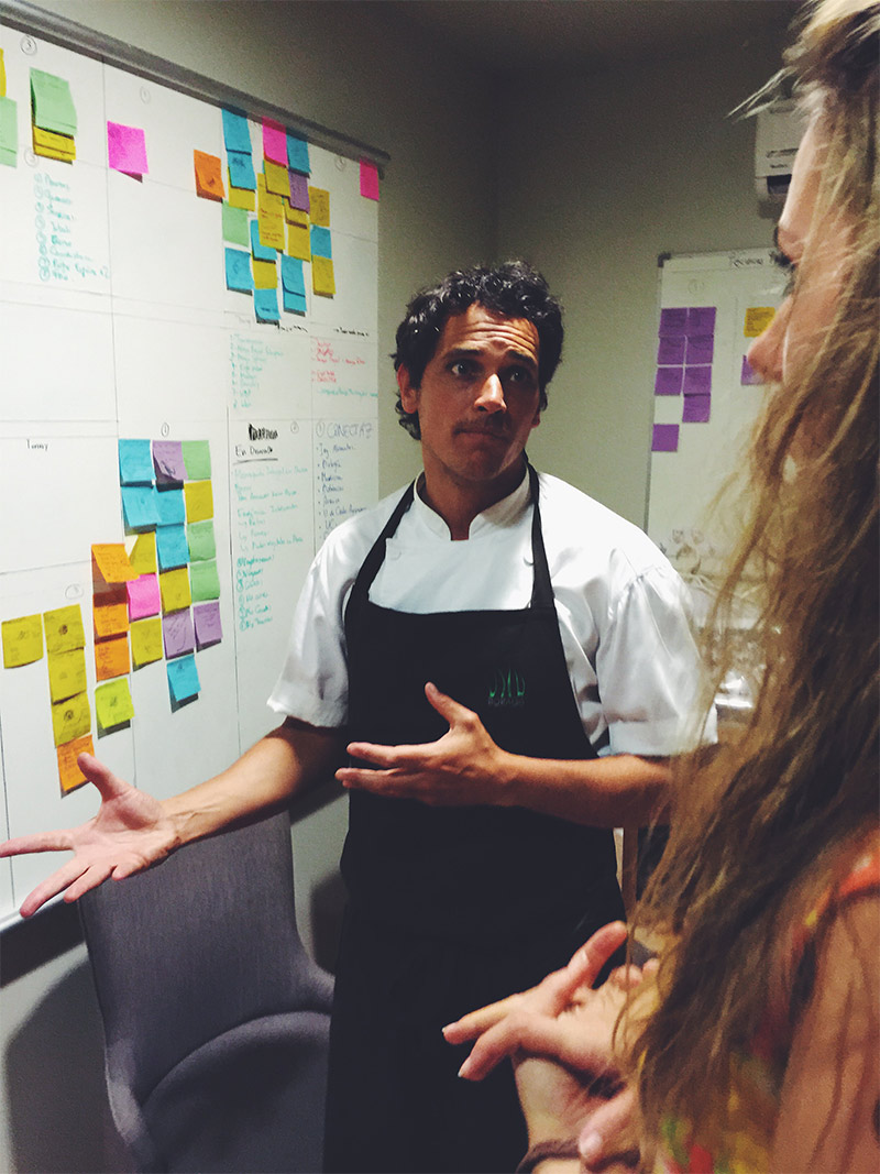 Chef Guzman giving us a tour of how him and his team plan out each week's dishes.