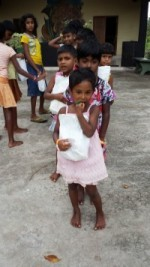 "Orphans in Sri Lanka with ""goodie bags"" from Evergreeners"