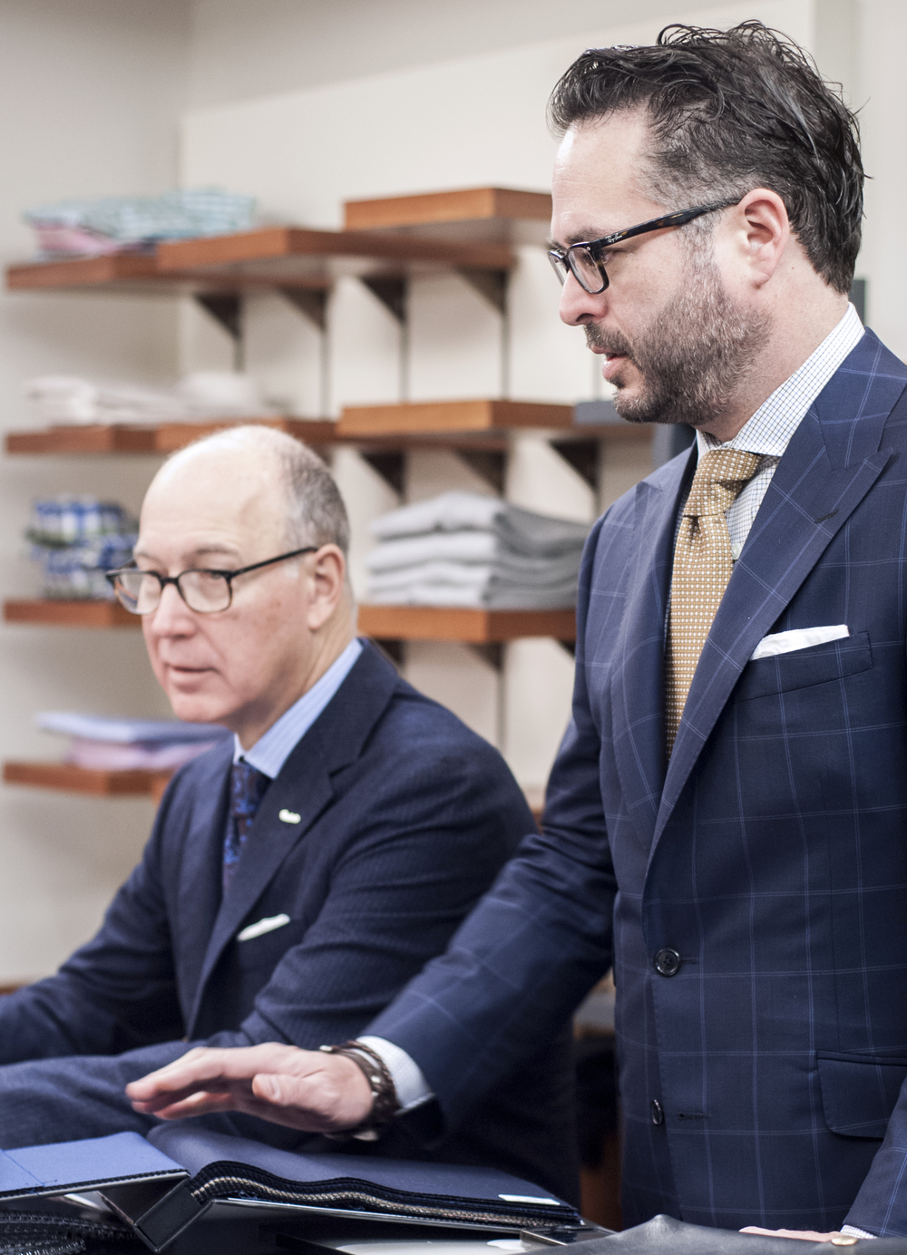 Bob Denton, President of Oxxford  (pictured left), and Chris Brueckner, Vice President of Sales, talk about luxury fabrics and staying faithful to quality.