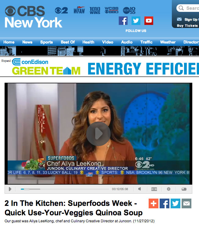 CBS New York featured Aliya in a cooking segment about the superfood quinoa where she made a Peruvian Quinoa Soup.