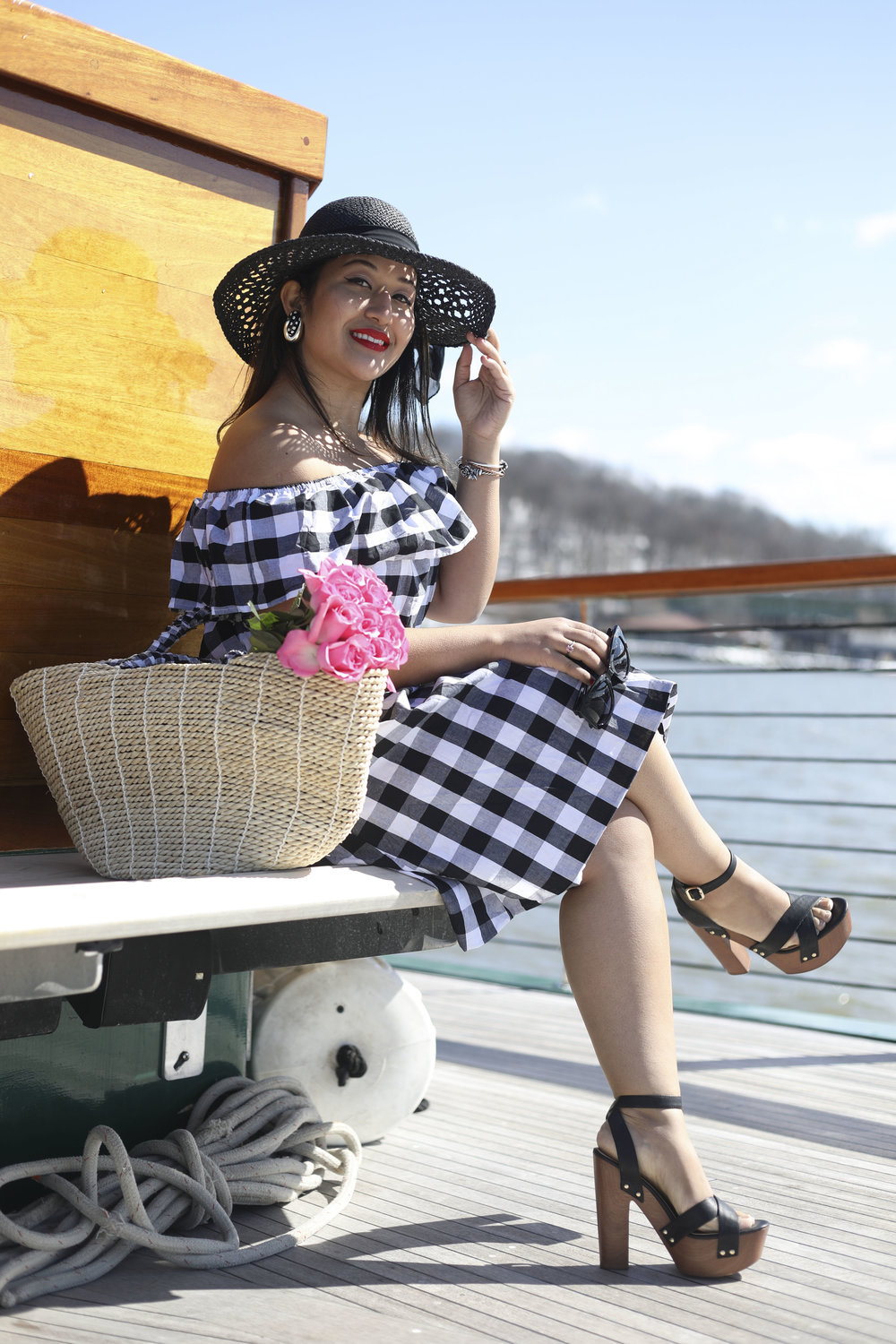 Off the Shoulder Spring Dress x Gingham Print x Make Me Chic x NYC Cruise x Troll Beads