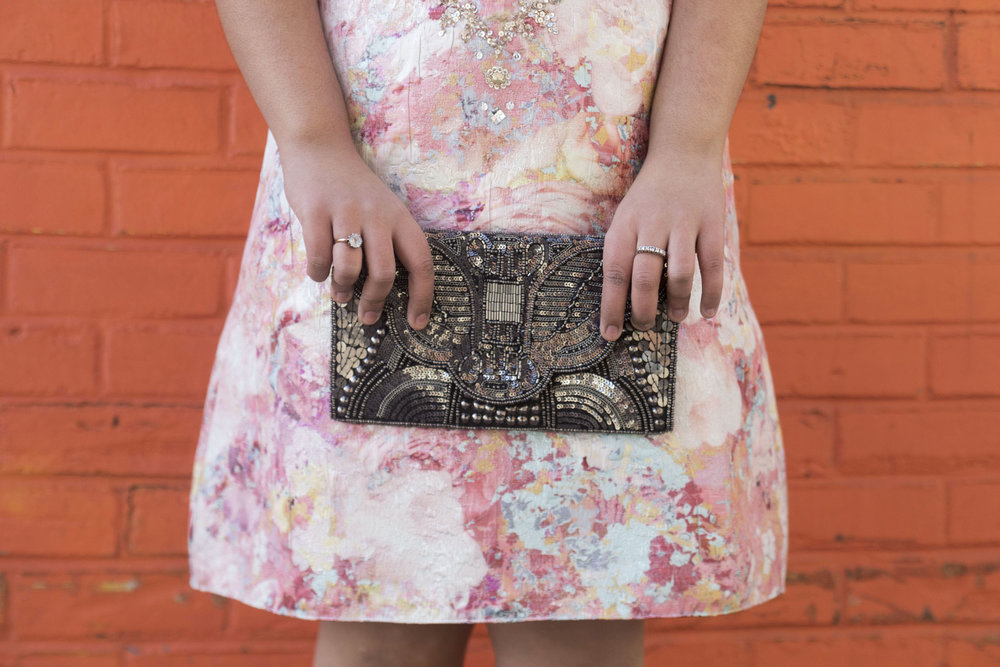 Krity S x Aidan Mattox Beaded Brocade Short Dress