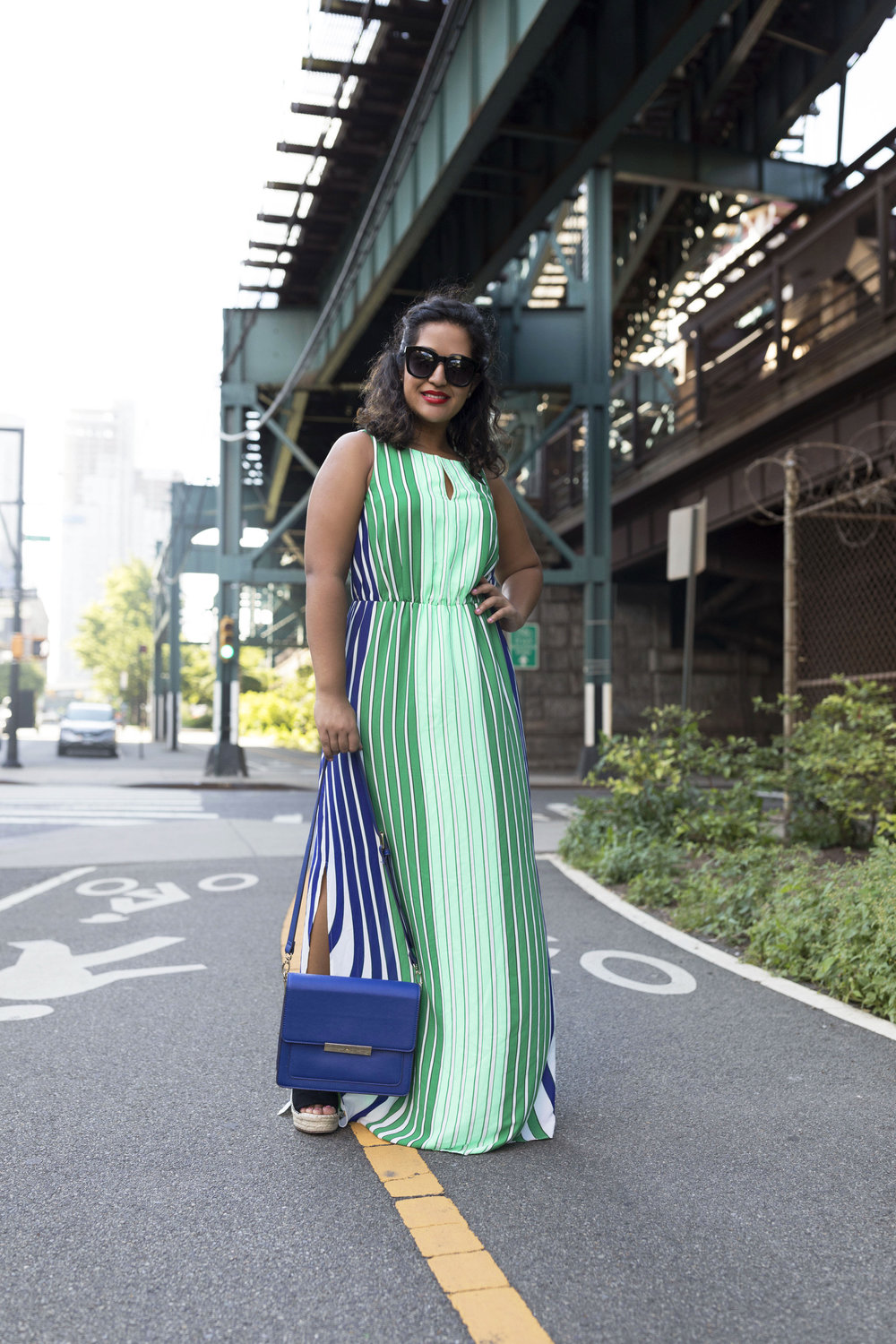Adrianna Papell Stripped Maxi Dress