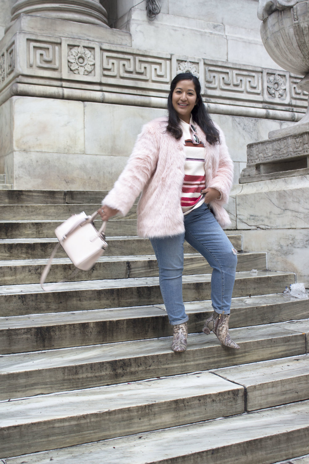Krity S x Loft Stripe Sweater x Pink Faux Fur x Winter Outfit1.jpg