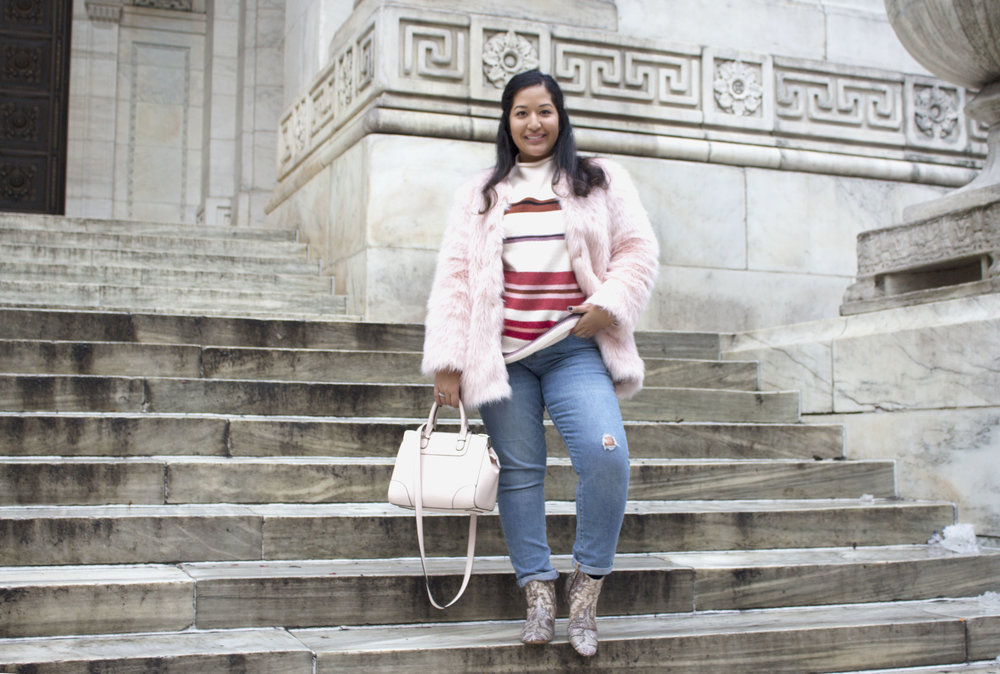 Krity S x Loft Stripe Sweater x Pink Faux Fur x Winter Outfit7.jpg