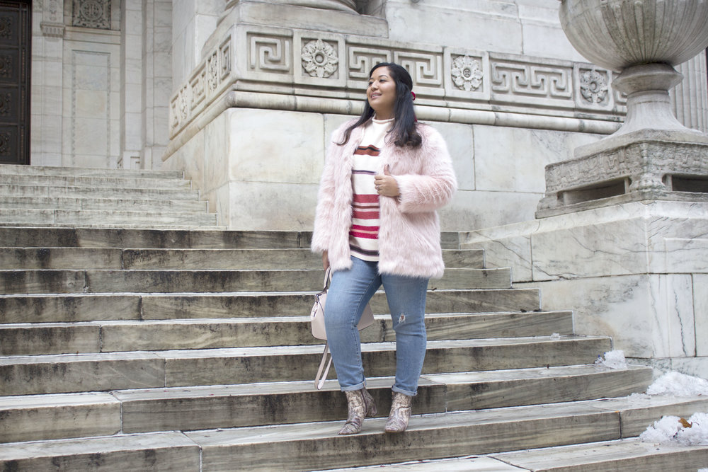 Krity S x Loft Stripe Sweater x Pink Faux Fur x Winter Outfit6.jpg
