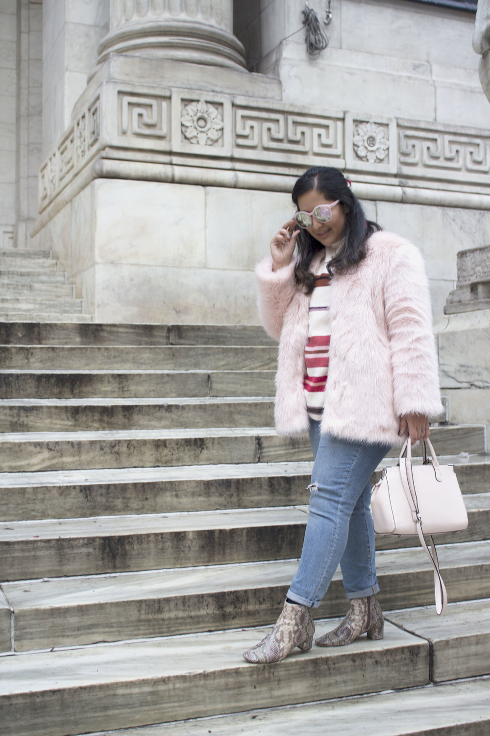 Krity S x Loft Stripe Sweater x Pink Faux Fur x Winter Outfit2.jpg