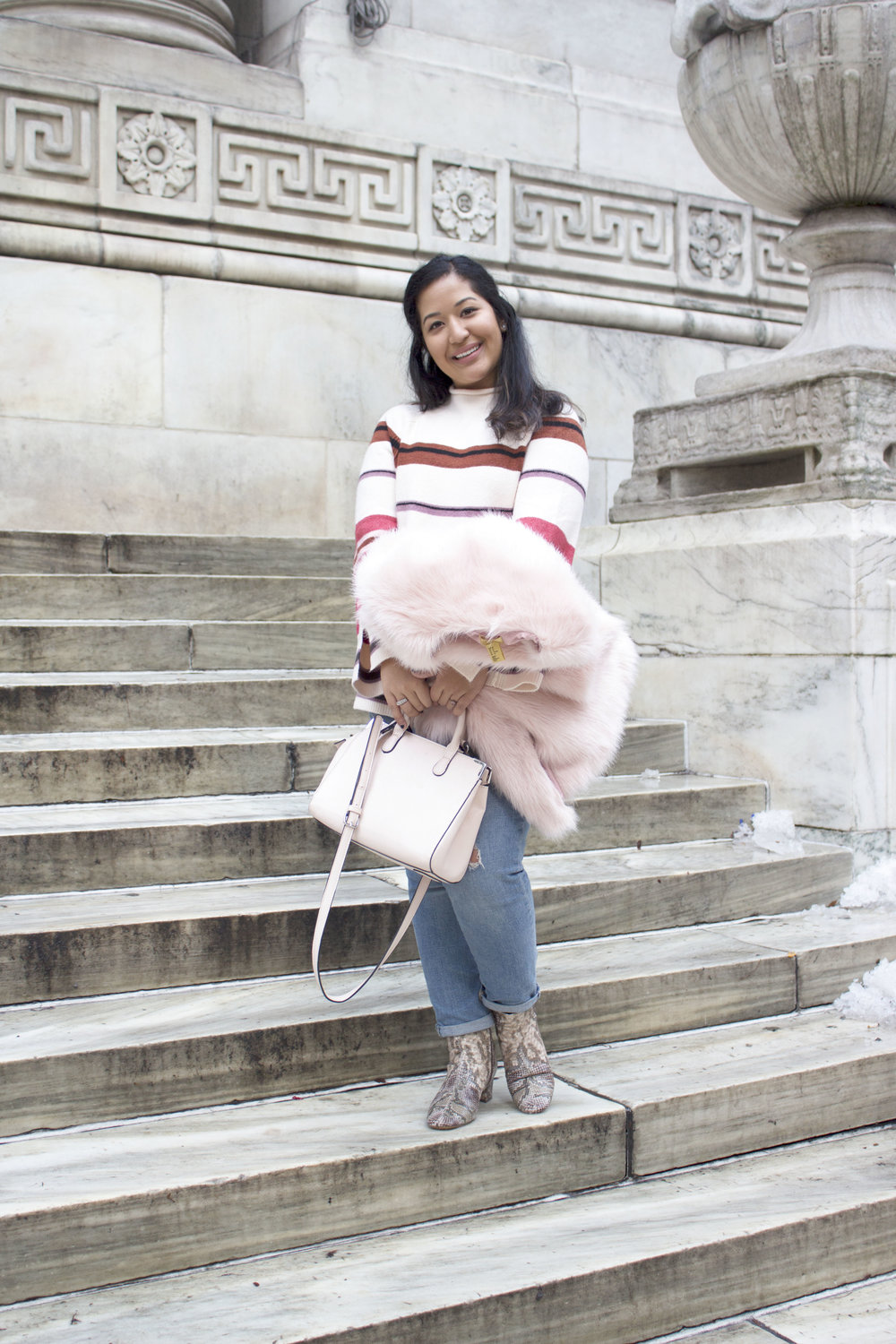 Krity S x Loft Stripe Sweater x Pink Faux Fur x Winter Outfit5.jpg