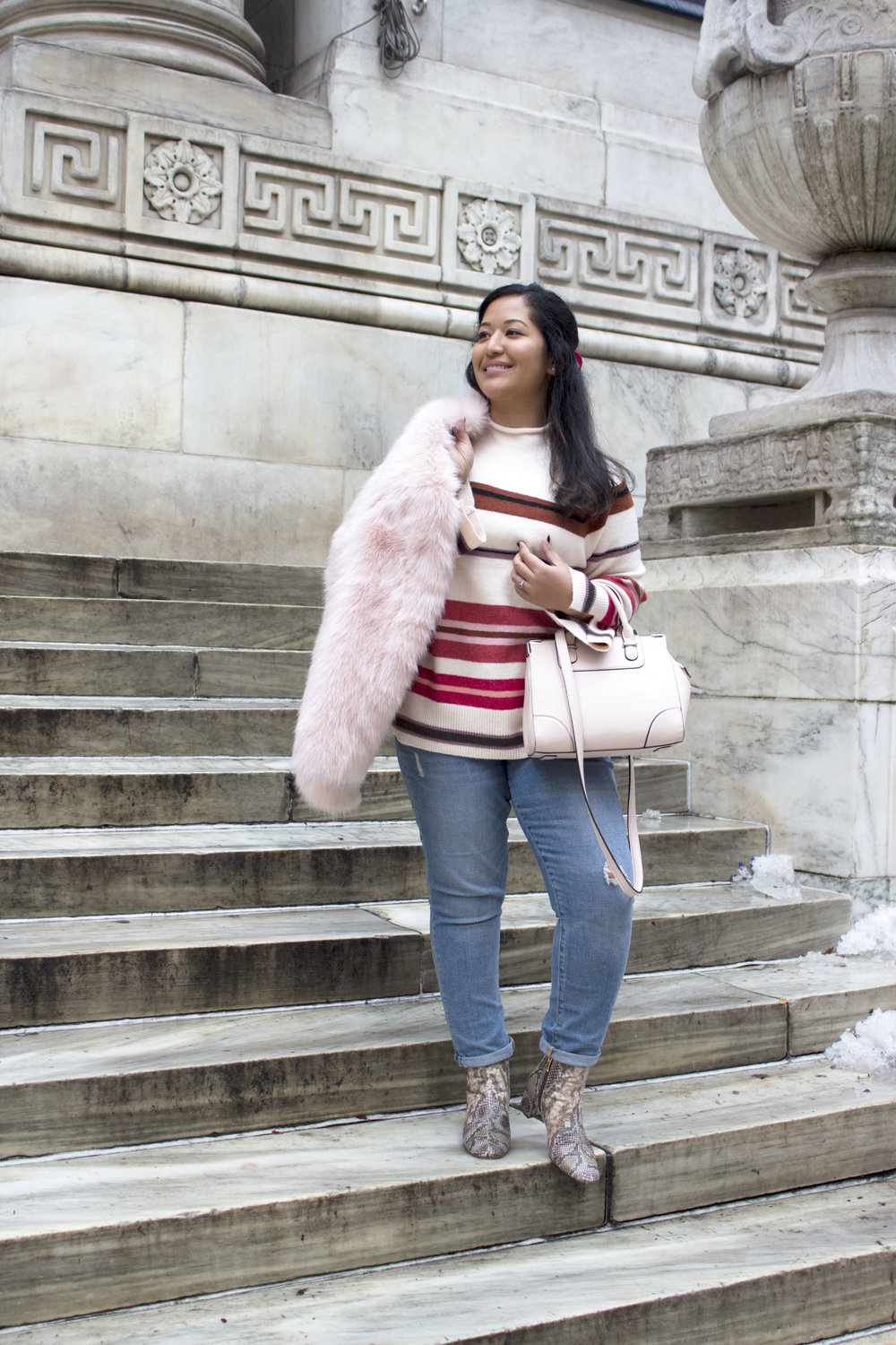 Krity S x Loft Stripe Sweater x Pink Faux Fur x Winter Outfit3.jpg