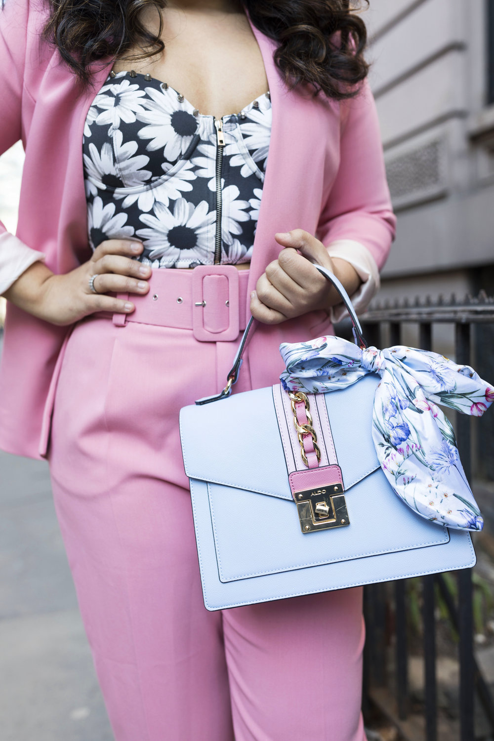 Pant Suit Spring Outfit Trend- Pink Blazer and Pink Pants Aldo Bag