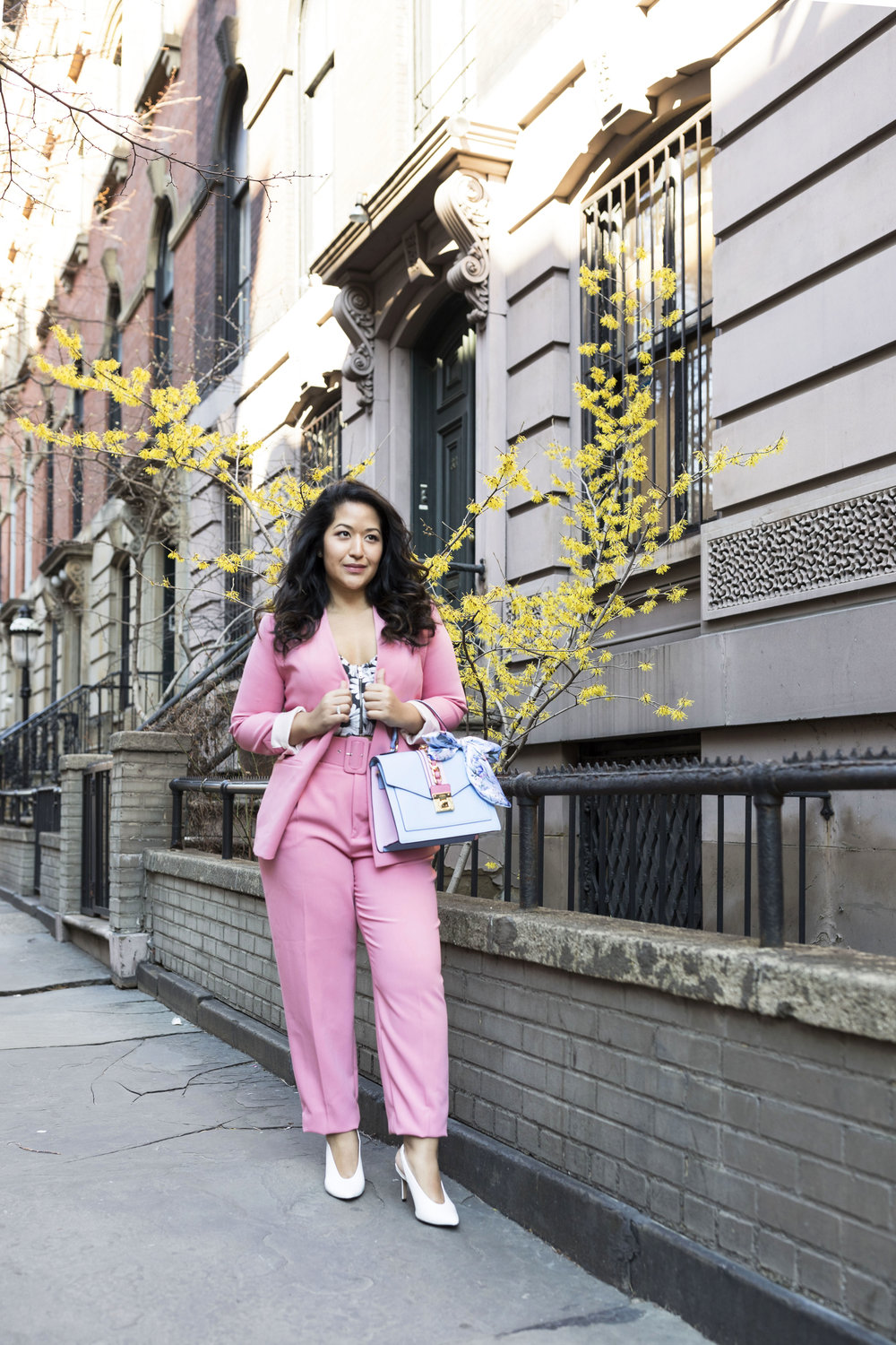 Pant Suit Spring Outfit Trend- Pink Blazer and Pink Pants