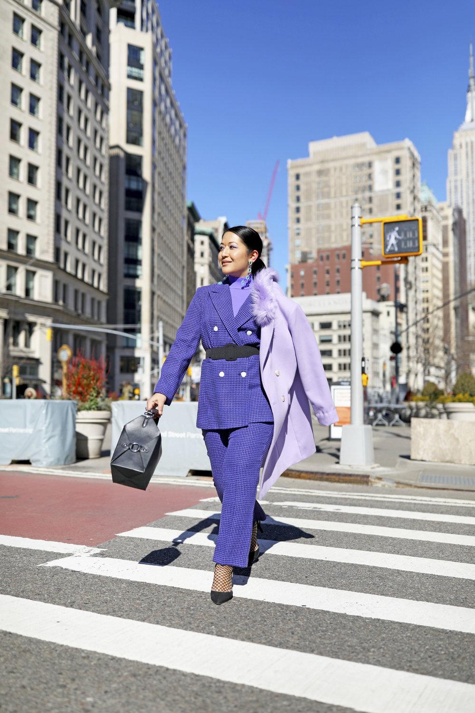 Purple pant suit monochrome outfit