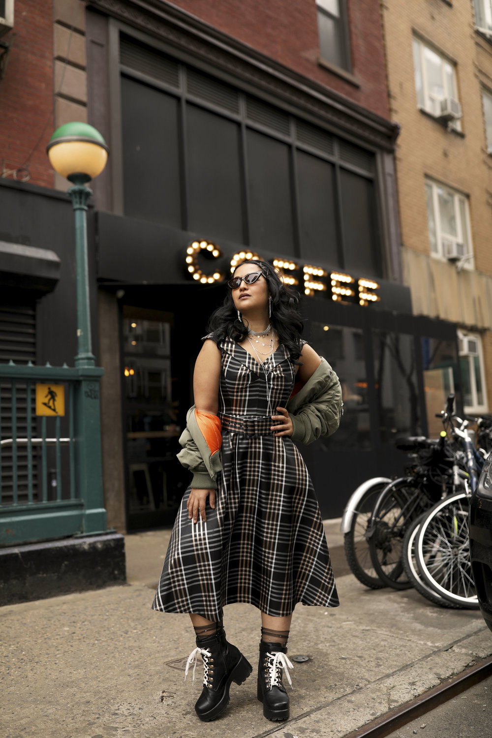 Plaid Dress and Boots Street Style