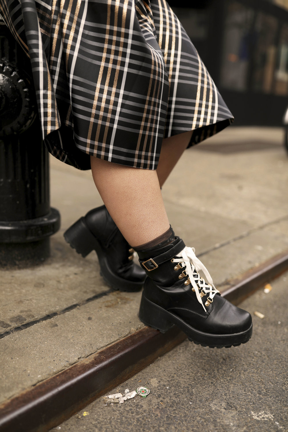 Leather Combat Boots with Sheer Socks