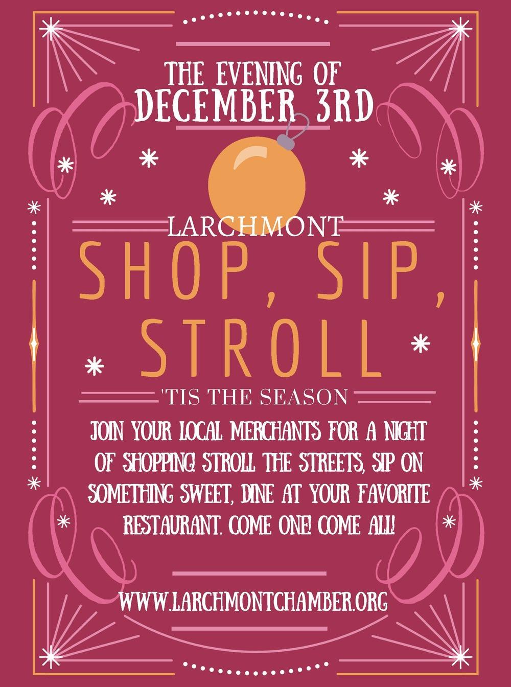 shop, sip, stroll larchmont