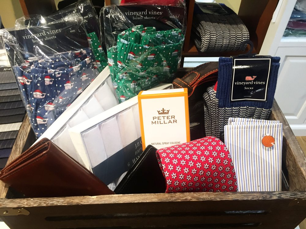 A little bit of everything, Mancino Tailors has a bunch of cute little gifts for your man. Whether it's a seasonal tie, cozy socks for those long cold commutes, or cologne to keep him smelling great, you can find them all here! Plus, they have hankerchiefs, because every gentleman should carry one.