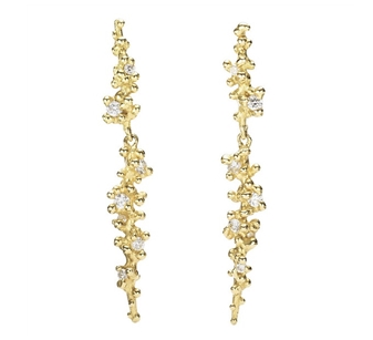 "RUTH TOMLINSON LONG DIAMOND GRANULE EARRINGS 18 Karat Yellow Gold Long Drop Post Earrings with White Diamonds (0.31 tcw) and Signature Organic Granulation. Earrings measure 1 ¼"" long. Available at Peridot Fine Jewelry"
