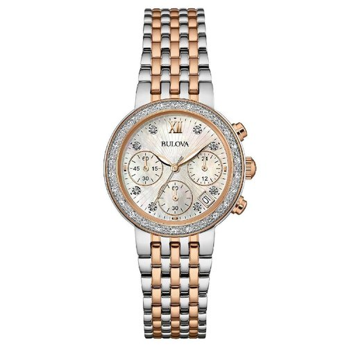 Maybe you have diamonds on your list, and maybe you have diamonds... Why not get both with this Bulova Watch? Available at Palmer Jewelers