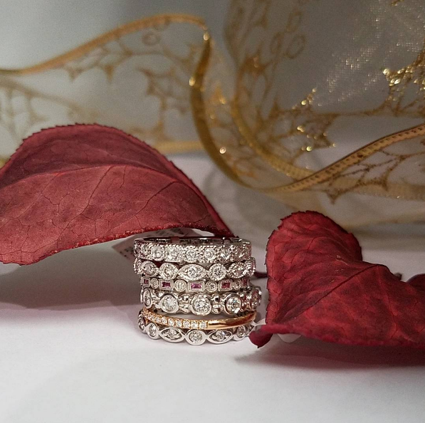 While we'll be wishing for a white Christmas, adding these sparkling diamond bands to your wishlist will get you your own personal ice stash!  Available at Wallach Jewelry Designs