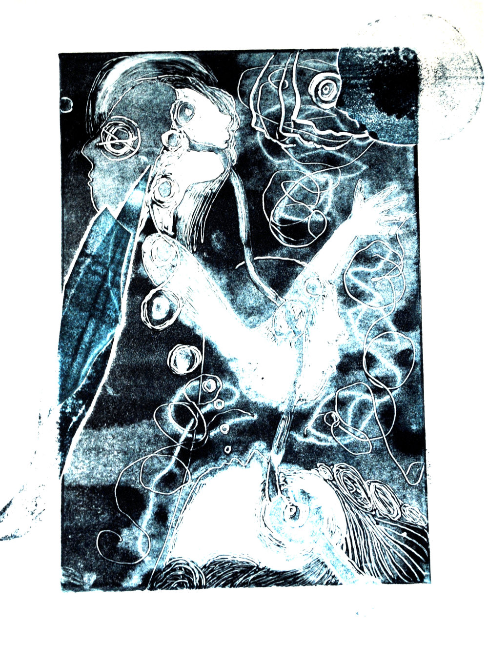 Tidal Breath Monoprint