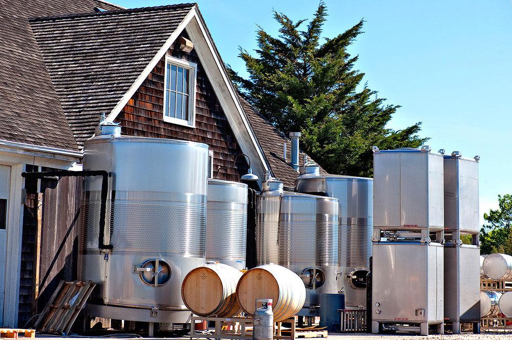 wine tanks on crush pad