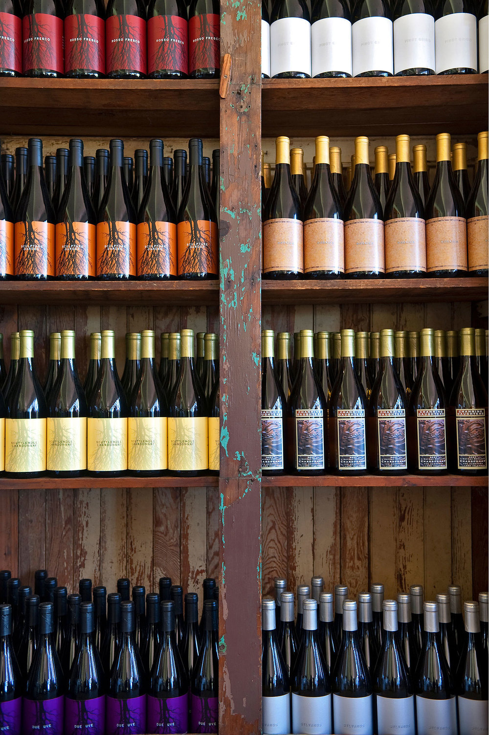 wine bottles in retail store