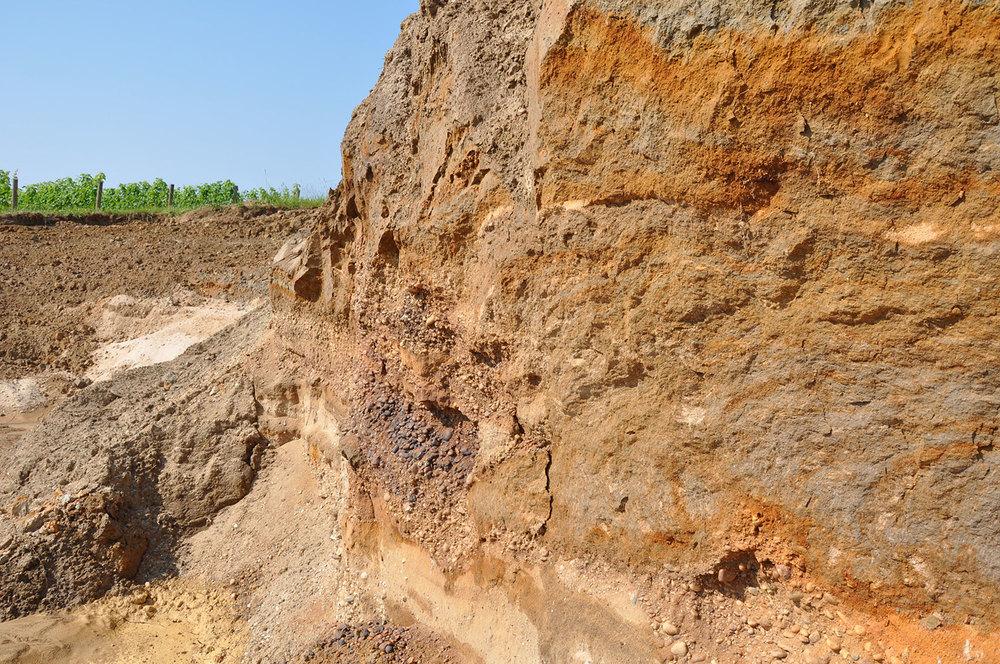 soil profile in pit