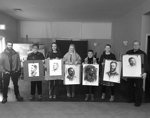 Last day of portrait drawing workshop. Its incredibly rewarding to share techniques and see them applied so well and help each one on their own journey in art. ❤️