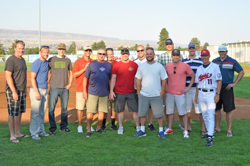 "Coach Knaggs was able to celebrate some of his past success with members of his former teams on July 11th, on ""Alumni Night"" at the ball park. Photo by: Al Grieve - AppleSox Team Photographer"