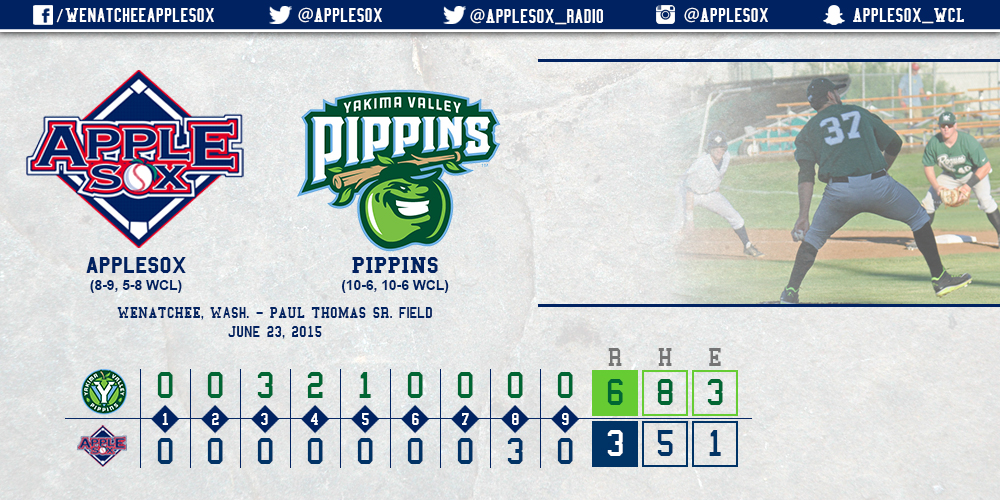 The Pippins used a fourth-inning home run on the way to a 6-3 series-opening win, Tuesday.