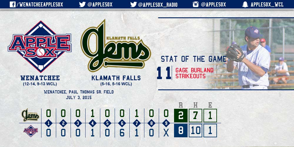 The AppleSox used stellar pitching and an offensive explosion to earn a Fireworks Night win, Friday,