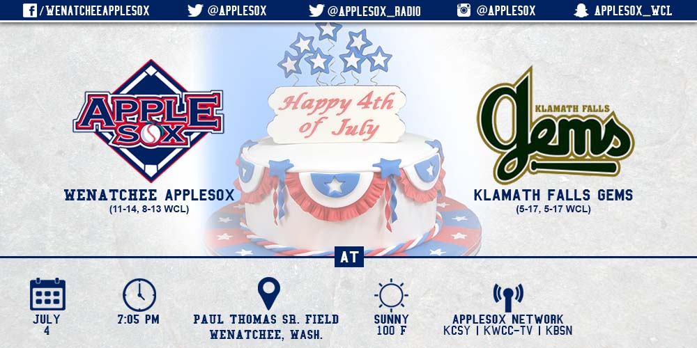 July Fourth baseball features the AppleSox and Gems, Saturday night at 7:05 p.m. at Paul Thomas Sr. Field.