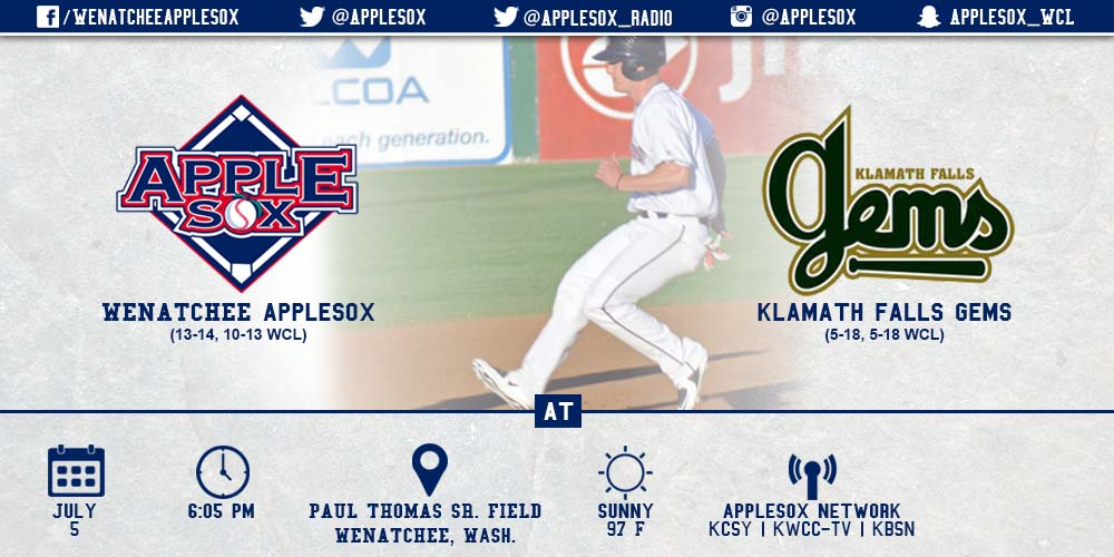 The AppleSox will go for a sweep Sunday against the Klamath Falls Gems.
