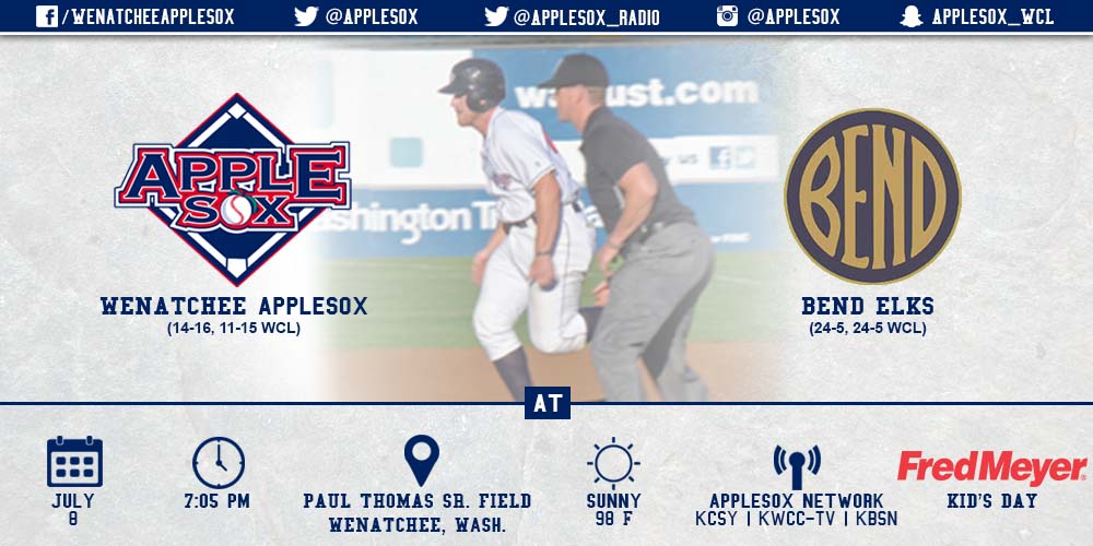 The AppleSox close their six-game homestand, playing the Bend Elks tonight at Paul Thomas Sr. Field